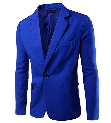 Homme Slim Fit Veste Blazer Casual Elegant Un Bouton Costume Manteau Jacket Bleu Royal XL