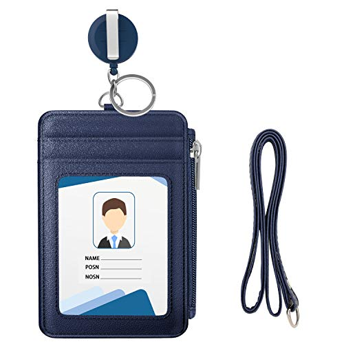 MoKo Porta Badge, Porta Carte in Premium PU Pelle con Slot per Schede e Zipper Portafoglio con Bobina Retrattile con la Cinghia del Collo per Carta di Ufficio ID e Scuola ID - Indigo