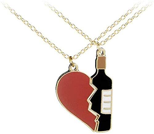 Collar Elegante Exquisito Encanto Amor Botella de Vino Conjunto Collar de Pareja Colgante Collar joyería Regalos