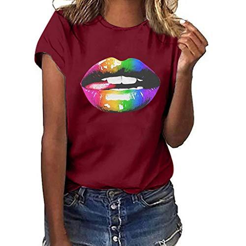 VEMOW Camiseta de Mujer Manga Corta Suelta con Cuello Redondo Talla Grande, Moda Impresión de Labio 3D Basica Suelto Primavera Verano Camisa Tops Casual Fiesta T-Shirt para el Mejor Amigo(C Vino,XL)