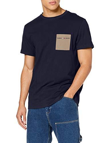 Tommy Jeans TJM Contrast Pocket tee Camiseta, Azul (Twilight Navy C87), Large para Hombre