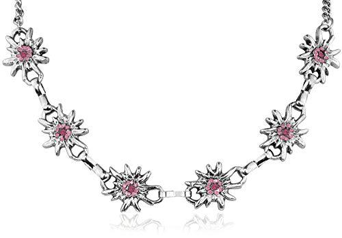 Collier Trachtenkette Edelweiß Rosa - Trachtenschmuck Kette zu Dirndl und Lederhose