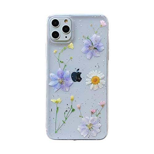 Tybaker iPhone 11 Hülle Handyhülle Getrocknete Blumen Hülle Kristall Gel Schutzhülle Blume Bumper Superdünn Cover Schale Schutzhülle für Apple iPhone 11, 3 Lila 1 Weiß
