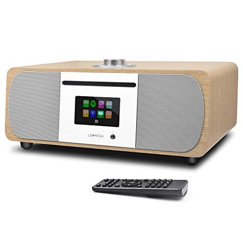 LEMEGA M5+ Stereo Internetradio Kompaktanlage (DAB+,UKW,CD-Player,WLAN,Spotify,Bluetooth,Farbdisplay,USB,AUX, Kopfhöreranschluss,Radiowecker,35 Watt,Holz-Optik,Fernbedienung) - weiß Eiche