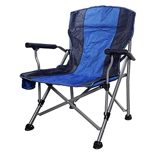 Tolalo Pesca Estructura de la Silla Plegable Silla de Camping Transpirable Acoplamiento de la Ayuda de Aluminio Silla de campaña Plegable Alto con el Titular de la Copa (Color : Blue)