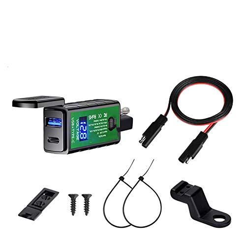 linger Cargador de Motocicleta USB Adaptador de Corriente Voltímetro 12V Conector SAE Tipo C Ajuste para Cargar por teléfono Accesorios de Motorbike (Color : M2C SAE)