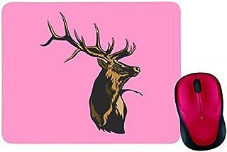 Alfombrilla para ratón, diseño de ciervo y cornamenta de bosque y montañas de caza salvaje en negro, blanco, azul, rosa, a...