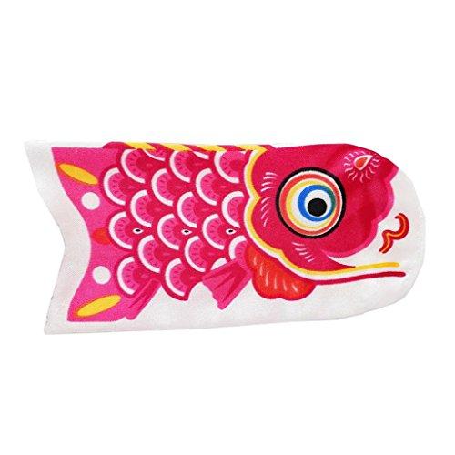 B Blesiya Bandera Decorativa Japonesa Calcetín de Viento Japonés para Peces Accesorios de Decorar - Rosa roja, 15cm