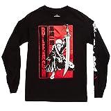 Bleach Anime Shirt Ichigo Holding Bankai Sword with Kon Design On Long Sleeve Graphic Mens T-Shirt - Medium (Black)