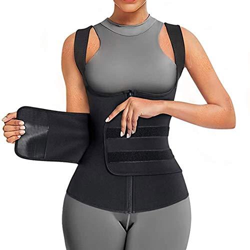 Entrenador de Cintura para Mujer, Cinturón de Entrenamiento, Recortador de Adelgazamiento Deportivo, Cincher de Vientre Ajustable para Entrenamiento de Pérdida de Peso (Color : Black, Size : S)