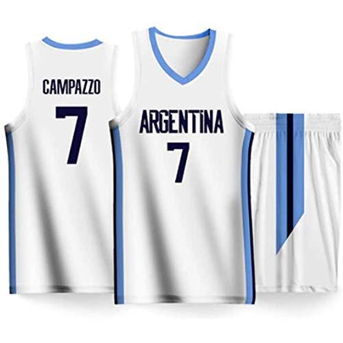 Copa del Mundo Masculina República Argentina Equipo de Baloncesto 7# Facundo Campazzo Camiseta Deportiva Casual Blanca Pantalones Cortos de Manga Corta Chaleco-M