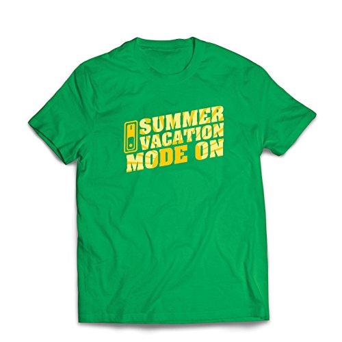 lepni.me Camisetas Hombre Vacaciones de Verano - Modo Activado - Último día de Clases/Ideas de Regalos de graduación (XXX-Large Verde Multicolor)