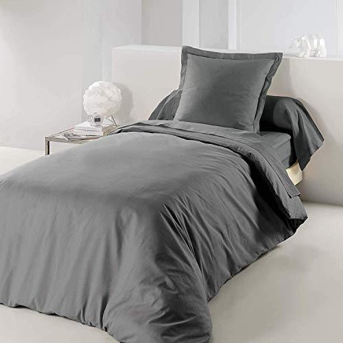 douceur d'intérieur 1640737 Housse de Couette Uni Coton 57 Fils Gris Souris 140 x 200 cm