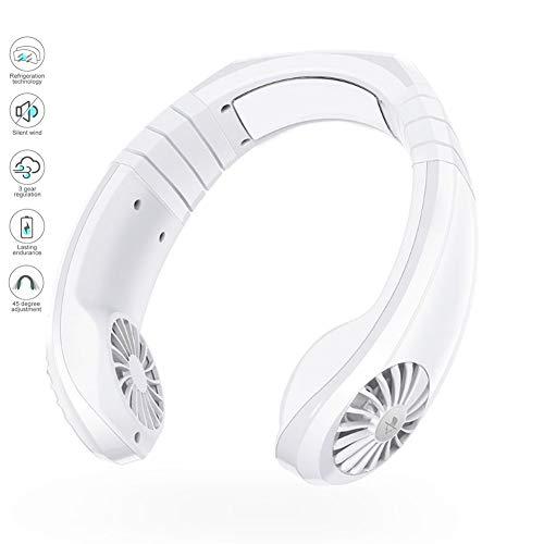 Mini Personal Ventilador USB de Cuello Portatil Mano Libre Recargable Ventilador Rotación de 3 Velocidades y 45 Grados Oficina Hogar Viajar Acampar,Blanco