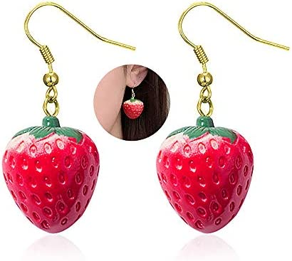 YOOE Simulated Fruit 3D Strawberry Acrylic Earring Cute Stereoscopic Red Strawberry Dangle Earring product image
