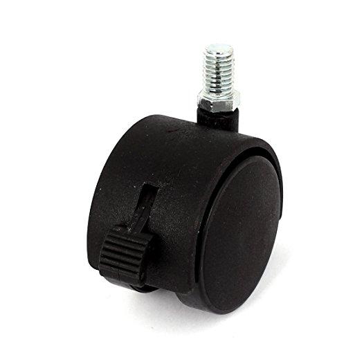 sourcing map A15080700ux0019 5,1 cm de diamètre 10 mm Rotation à 360 ° filetée blocage de roue de frein Caster – Noir/argenté