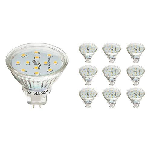 SEBSON® LED Lampe GU5.3 / MR16 5W warmweiß 3000k, ersetzt 35W, 420lm, Ra97, 12V DC LED Leuchtmittel, Einbaustrahler flimmerfrei, 10er Pack