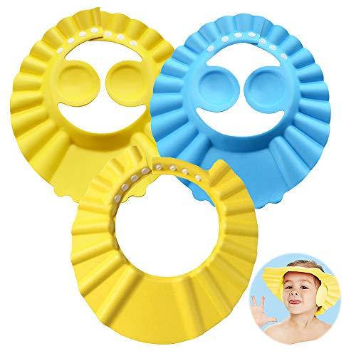 Gorro de Ducha para Bebé, ZoneYan 3pcs Gorro de Baño para Bebés, Visera Baño Bebe, Champú Ajustable para Bebé, Visera Baño Orejeras Bebe, Evite que el Agua Fluya a Ojos y de la Cara(Amarillo Azul)