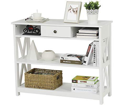 Itaar 3-Tier Konsolentisch mit Schublade und Lagerung Regale, schmale Konsole Tisch mit klassischen X-Design für Wohnzimmer Eingang Flur, weiß