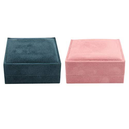Holibanna 2 Piezas Caja de Joyería Franela Exquisita Caja de Broche Joyería Contenedor de Almacenamiento