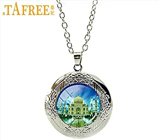 Pendant Necklaces - Resplendent Taj Mahal Necklace Silver Plated Locket india's Most Famous Travel Palace Round Dome Glass Great Jewelry H591 - by Mct12-1 PCs