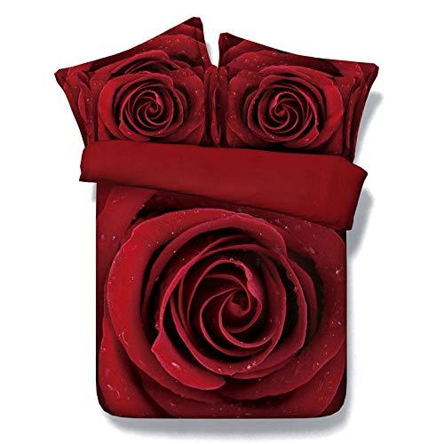 3D Rosa Cama de impresión 3D, Juego de Funda nórdica para niños y bebés Personalizados, Ropa de Cama 220cm x 230cm