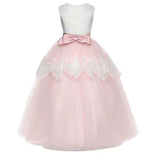 AmyGline AmyGline Mädchen Kleider Rock Kinder Mädchen Ärmelloses Kleid Tutu Bogen Prinzessin Kleid Formelle Kleid Partykleid Blumenmädchen Kleid 7-11 Jahre