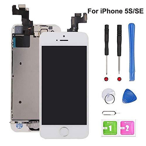 EXW Écran LCD Tactile de Remplacement pour iPhone 5S Blanc, modèle Complet avec Bouton Home, caméra Frontale et capteur de proximité, Haut Parleur Interne, Outils de réparation complets.