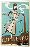 Divertida decoración de cocina, cafetera italiana, placa de metal de dibujos animados, 20 x 30 cm