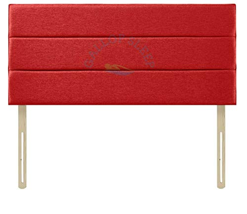 Gallop Sleep Super Padded Eton Chenille Headboard for Divan Bed | Bedroom Furniture (Red, Double 4 FEET 6 INCHES, Height 24 INCHES)