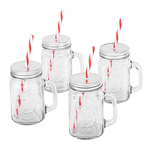 Mason Jar Mugs with Handle,