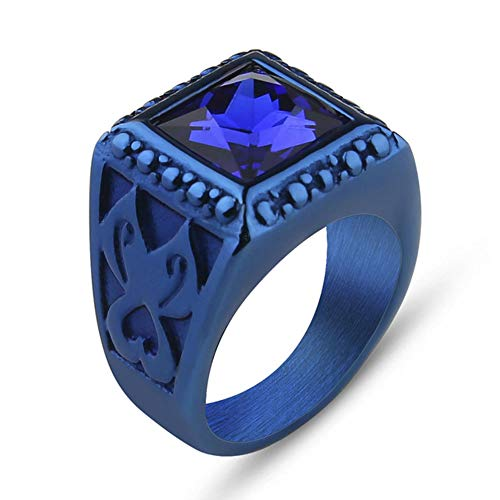 Valily Heren Rood/Zwart/Paars Zirkoon Ring Mode Roestvrij Staal Trouwring Blauwe Kristallen Ring voor Dames Heren Maat 7-13
