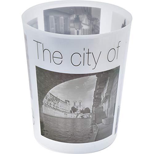 "EVIDECO 6500462 Printed Bath Trash Can Paris City Waste Bin 4.5-Liter-1.2-gals, 7.68"" L x 7.68"" W x 9.45 inchesH, Gray"