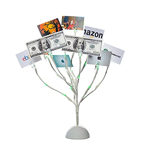 Money Tree Gift Card Holder with 10 Clips and 25 LED Light Up Lights Present Card Picture Display Tree Table Stand Creative Gift for Christmas/Birthday/Graduation Party