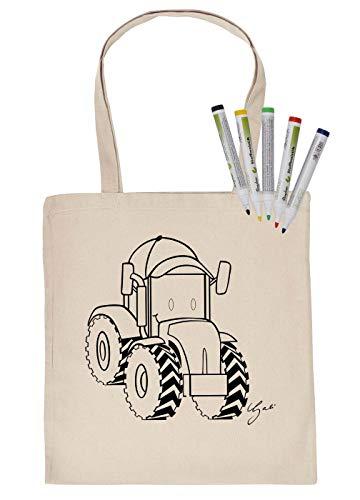 Kindermotief schilderen stoffen tas en 5 st. stiften set trekker tas om zelf te beschilderen stoffen stiften Kids schilderen op foto's