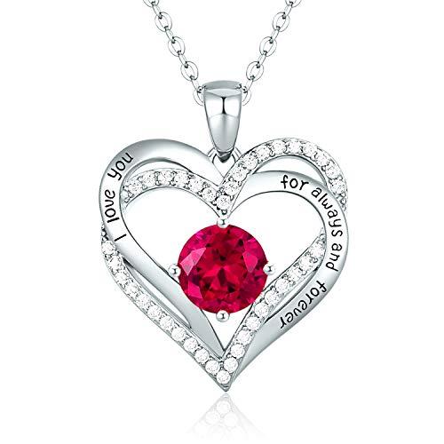 CDE Collares de Corazón para Mujer de Plata 925 Collares Colgante de Mujer Colgante de Diamantes Niña, con Caja Regalo, Regalo para Día de la Madre Esposa y Novia Roja Claro