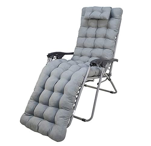 Bravo Home - Cojín de tumbona 180 x 55 x 10 cm, cojín cómodo y suave, respaldo antideslizante, cojín de asiento con respaldo alto para interior exterior (Gris)
