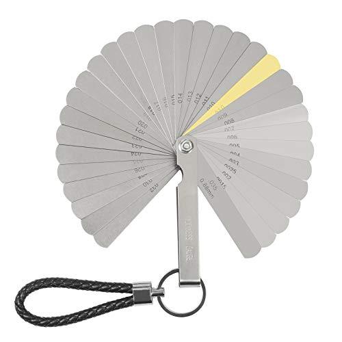 ZoomSky Edelstahl Fühlerlehre Set 32 Blätter in 1 Ventillehre Dual Markiert Metric und Imperial Messgerät Werkzeug für Messung Gap Breite/Dicke Größen
