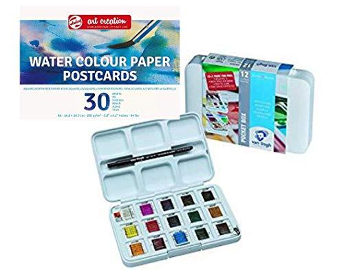 AMI, Van Gogh Aquarell Malset Pocket Box mit 12 +3 gratis Aquarekllfarben Plus Aquarell-Postkartenblock