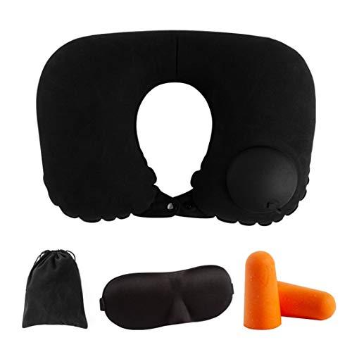 DENGC Almohada para el Cuello de presión e inflación automática Interior del Coche Almohada para el Cuello en Forma de U Almohada para el Cuello Inflable Suave y cómoda - Negro + Naranja
