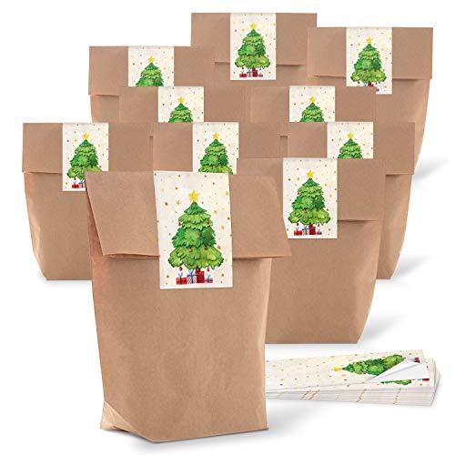 25 kleine kerstmis papieren zakjes bruin verpakking kerstcadeau cadeau met sticker rood groen natuur boom geschenkverpakking klant cadeau