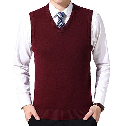 AOJIAOGUI heren trui vest mannen effen kleur wol mouwloos business casual trui gebreide V-hals trui vesten