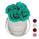 Relaxdays Bouquet di Rose Rotondo, 4 Rose, Grigio, Resistente 10 Anni, Idea Regalo, Box Decorativo, turchese