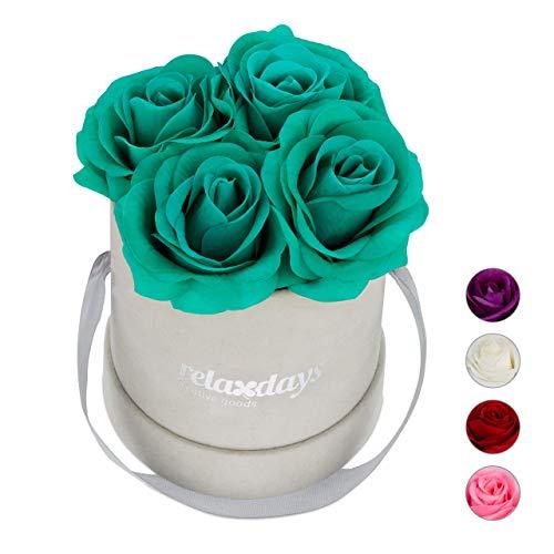 Relaxdays Rosenbox rund, 4 Rosen, stabile Flowerbox grau, Lange Haltbarkeit, Geschenkidee, dekorative Blumenbox, türkis