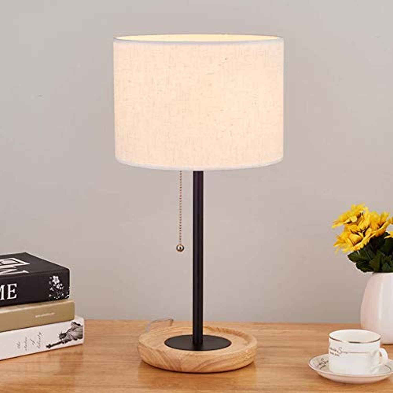 25-FANYUHONG Nordic kreative lampe Kreative holz tischlampe schlafzimmer nachttischlampe leselicht schreibtischlampe tischlampe (Farbe   Linen-Dimming Switch)