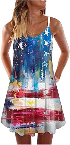 Vestido sin mangas para mujer, vestido corto sin mangas, con estrellas y rayas, 4 de julio, con estampado de bandera de Estados Unidos