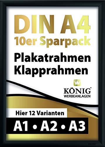 10 Plakatrahmen DIN A4 | 25mm Aluminium Profil, schwarz | inkl. entspiegelter Schutzscheibe und Befestigungsmaterial | Alu Klapprahmen Wechselrahmen Posterrahmen | 10er Sparpack | Dreifke®