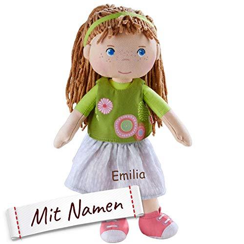 Stoffpuppe Hedda mit Namen Bestickt, Puppe mit Kleidung und Haaren, Kuschelpuppe Taufgeschenk, Anziehpuppe in Geschenkverpackung
