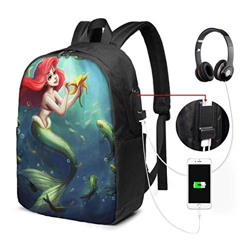 AOOEDM USB Backpack 17 in Mermaid Ariel Coloring Laptop Backpack- with USB Charging Port/Stylish Casual Waterproof Backpacks Fits Most 17/15.6 Inch Laptops and Tablets/for Work Travel School