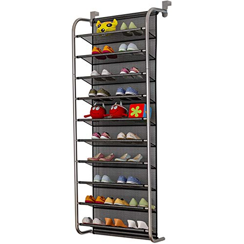 TZAMLI Zapatero para 10 pisos sobre la puerta, organizador para zapatos de almacenamiento, gancho de metal fuerte para Closet Pantry (gris plata, 56 x 21 x 151 cm)